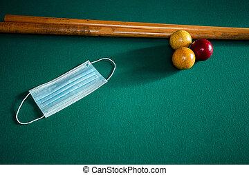 tabla, covid-19, tabla, máscara protectora, cara, médico, coronavirus, piscina, azul, billiard, verde