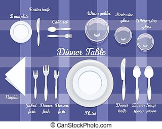 tabla, cubiertos, cenar