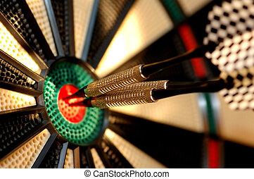 tabla, dardo, flechas, tres, centro