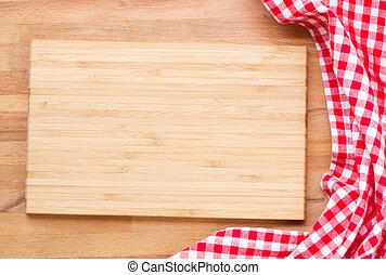 tabla de cortar, y, rojo, servilleta