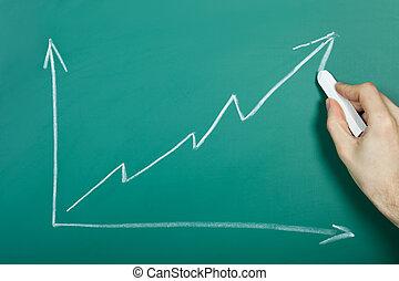 tabla de crecimiento, mano, dibujo