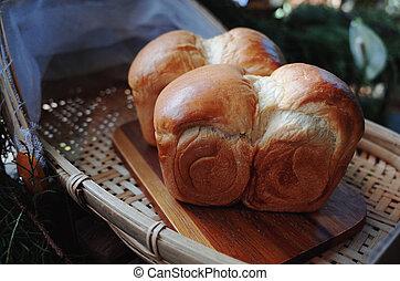 tabla de madera, cocido al horno, recientemente, bread