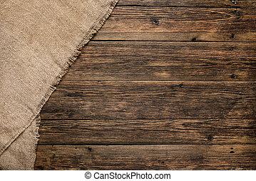 tabla de madera, con, arpillera, textura, plano de fondo