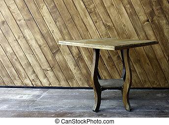 tabla de madera, en, el, delante de, la pared, madera