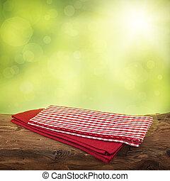 tabla de madera, servilletas, rojo, vacío