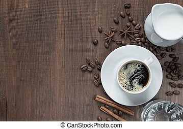 tabla de madera, taza para café