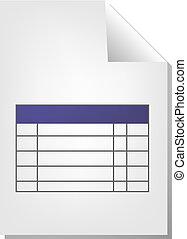tabla, documento, icono