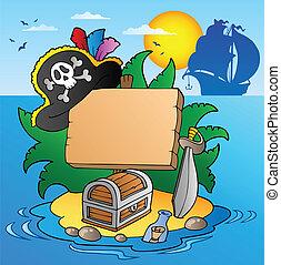 tabla, en, pirata, isla, con, barco