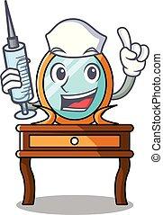 tabla, enfermera, carácter, caricatura, aliño