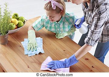 tabla, enjugar, hija, madre