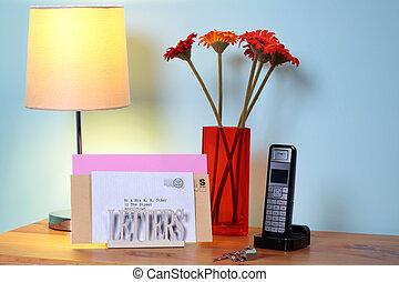 tabla, estante, vestíbulo, carta, correo