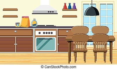 tabla, estufa, cenar, cocina