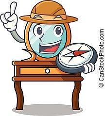 tabla, explorador, aliño, caricatura, mascota