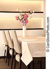 tabla, flores