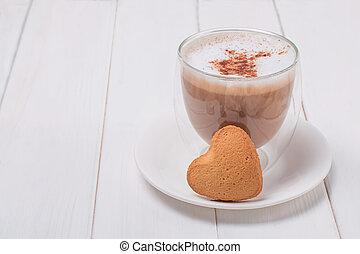 tabla, formado, corazón, taza, café, dulce, bisquit, blanco
