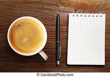 tabla, fresco, espresso, taza