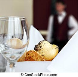 tabla, hotel, ajuste, restaurante