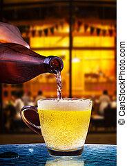 tabla, li, botella de vidrio, desagüe, hermoso, cerveza, cervezadorada
