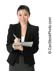 tabla, mujer, clip, empresa / negocio, asiático