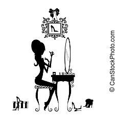tabla, niña, silueta, ella, vanidad