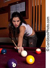 tabla, niña, snooker