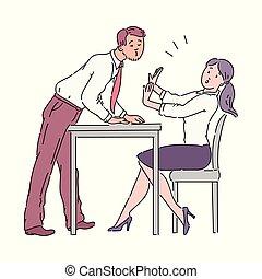 tabla, oficina, hostigamiento, work., beso, hombre, niña, ...