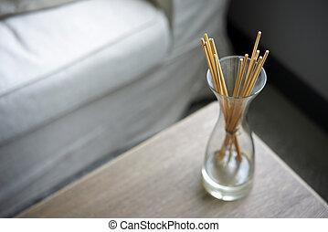 tabla, olor, tarro, palos, aromático