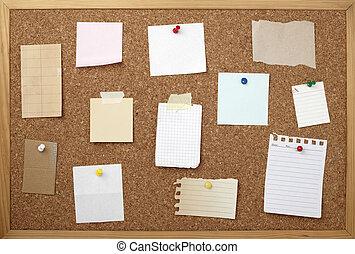 tabla, papel, fondo marrón, corcho, viejo, nota