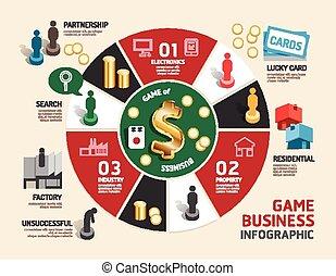 tabla, paso, empresa / negocio, exitoso, ilustración, juego...