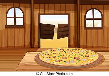 tabla, pastel, pizza