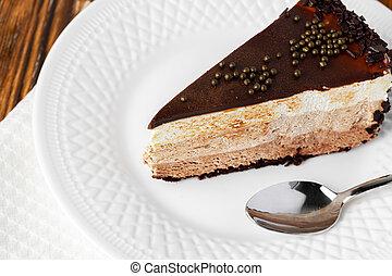 tabla, pedazo, chocolate blanco, pastel, placa