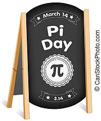 tabla, pi, tiza, plegadizo, caballete, 14, día, señal, marzo