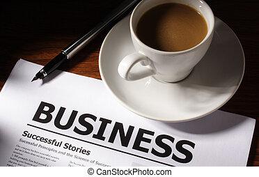 tabla, pluma, archivo, empresa / negocio, café