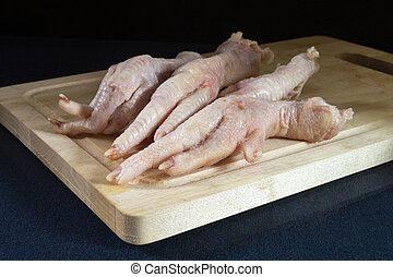 tabla, pollo, tabla, patas, de madera