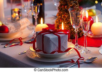 tabla, primer plano, regalo de navidad
