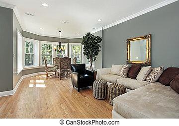 tabla, redondeado, habitación, familia , área