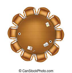 tabla, reunión, redondo