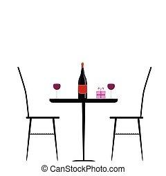 tabla, silla, vector, ilustración, vino