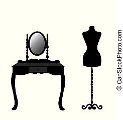 tabla, silueta, maniquí, aliño