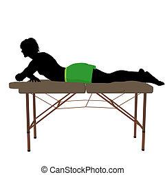 tabla, silueta, masaje, ilustración
