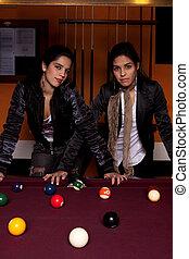 tabla, snooker, niñas, dos, luego