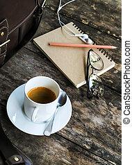 tabla, tazas de café