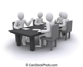 tabla, trabajando, personas empresa, sentado