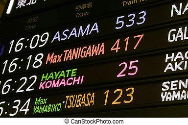 tabla, tren, tiempo