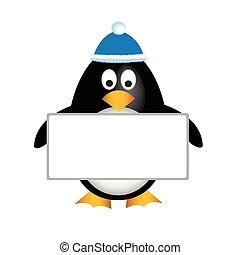 tabla, vacío, pingüino