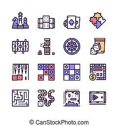 tabla, vector, color, juegos, icono, conjunto, línea