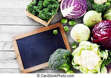 tabla, vegetales, pizarra, ensalada, fresco
