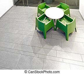 tabla, y, sillas