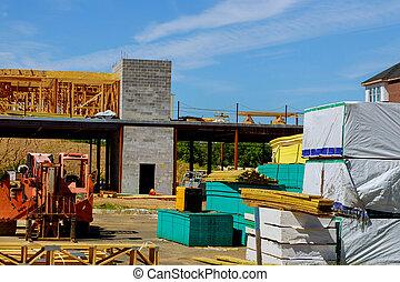 tablas, camión, nuevo, materiales, madera, carretilla elevadora, construcción de casas, ser, woodentruss, auge, pila, levantado, marco