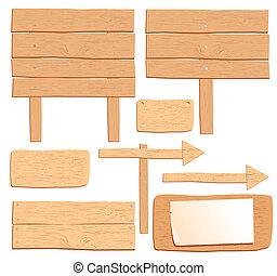 tablas, de madera, aislado, vector, diseño, blanco